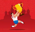 举着奖杯的足球运动员