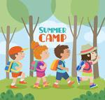 夏季野营的儿童