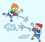 玩水枪的2个男孩