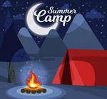 夜晚野营红色帐篷