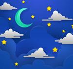 夜晚天空月亮和云朵