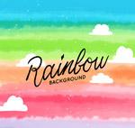 水彩绘彩虹云朵