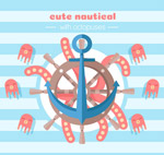可爱船舵和章鱼