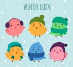 卡通冬装小鸟