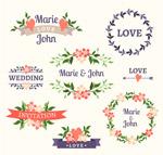 彩色婚礼花卉标签