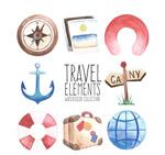 水彩绘旅行元素