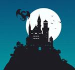 月夜古堡和龙剪影