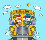 校车正面和小朋友