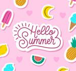 夏季水果贴纸矢量