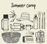 手绘夏季野营物品