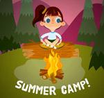 夏季野营中的女孩
