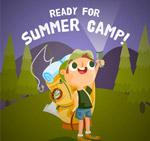 可爱夏季野营男孩