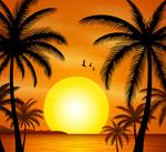 夕阳下的大海沙滩