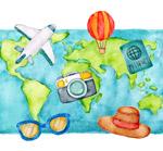 世界地图和旅行元素