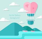 天空中的爱心热气球