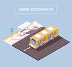 公交车和候车亭
