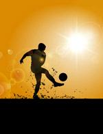 踢足球的男子剪影
