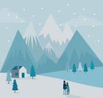 看雪景的情侣背影