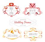 水彩绘婚礼丝带框架