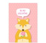 捧花狐狸爱的卡片