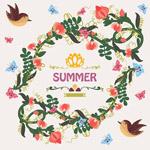 夏季花环和鸟