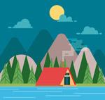 河边野营帐篷风景