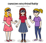 戴VR头显的女子