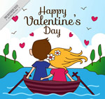 划船的情侣背影