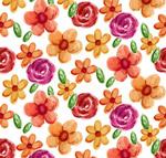 水彩绘花朵无缝背景