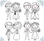 手绘幸福婚礼新人