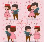 彩绘甜蜜情侣场景