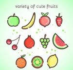 可爱水果设计矢量