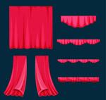 红色舞台幕布配件