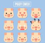 可爱猪表情矢量
