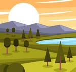 夕阳山脉湖泊