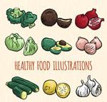 健康蔬菜水果矢量