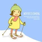 滑雪的短发女孩