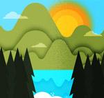 山和太阳湖泊风景