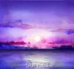 海上日落风景矢量