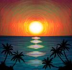 海边日落和椰子树