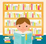 图书室阅读的男孩