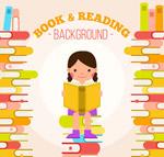 书堆上读书的女孩