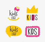 彩绘儿童标志矢量