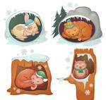 卡通冬眠动物矢量