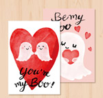 可爱幽灵情侣卡片