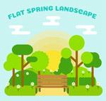 春季郊外长椅风景