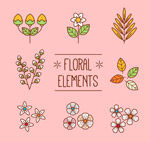 扁平化花卉和叶子