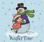 抱着雪人的女孩