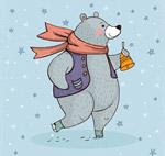 彩绘溜冰的熊