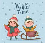 冬季玩耍的孩子